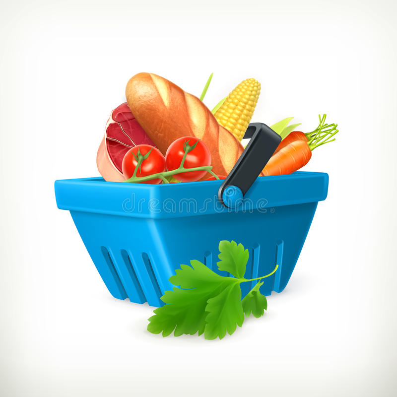 Shopping basket with food royalty free illustration