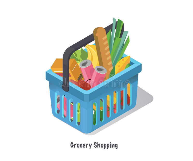 Shopping basket with fresh food and drink.Buy grocery in the supermarket.Isometric vector illustration stock illustration