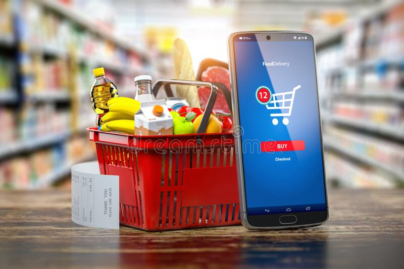 Shopping basket with fresh food and smartphone. Grocery supermarket, food and eats online buying and delivery concept. 3d illustration vector illustration