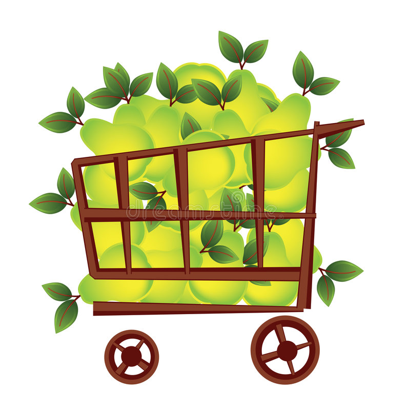 Shopping basket with fruits royalty free stock image