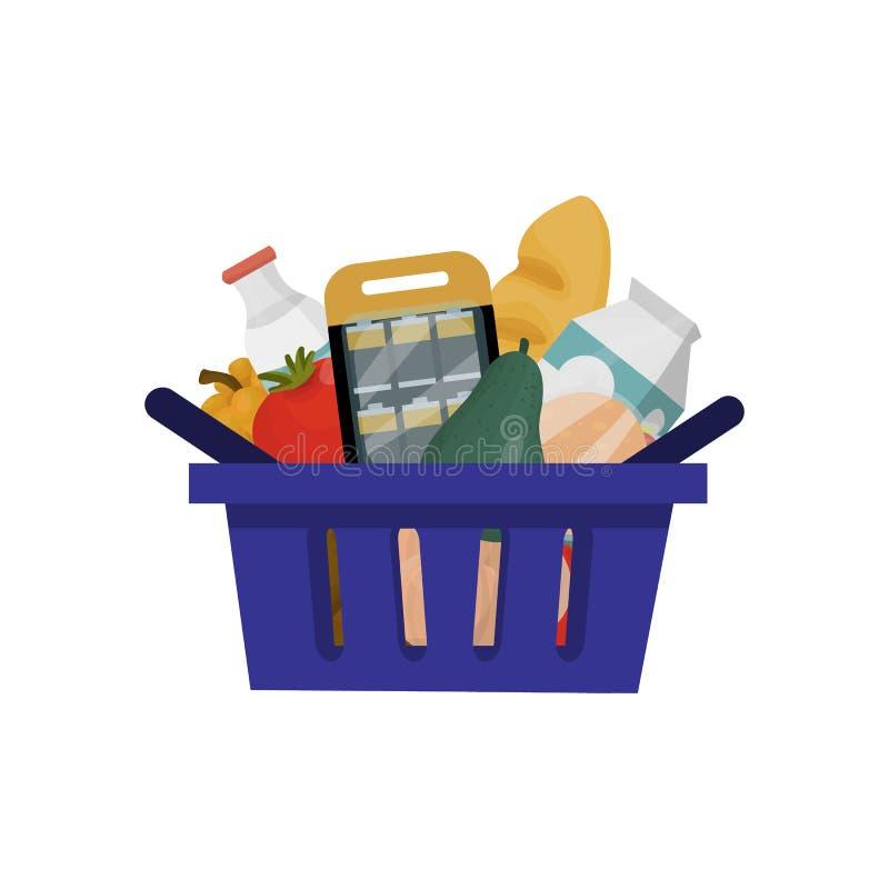 Shopping basket full of food stock illustration