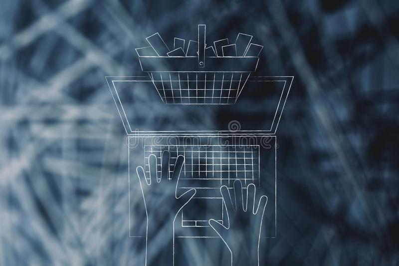 Shopping basket full of items popping out of laptop screen from. Above, concept of online shopping royalty free stock photography