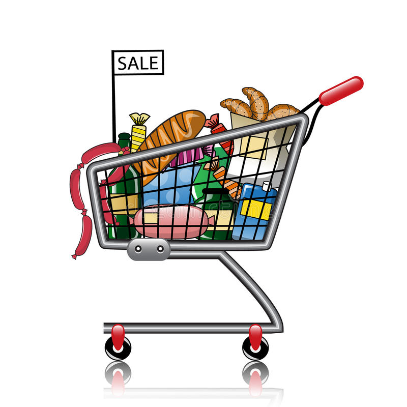 Vector Clipart Shopping Basket : Ping basket full of products stock vector image