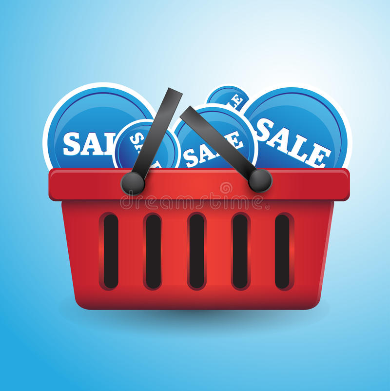 Download Shopping Basket Full Of Sales Stock Vector - Illustration: 25795044