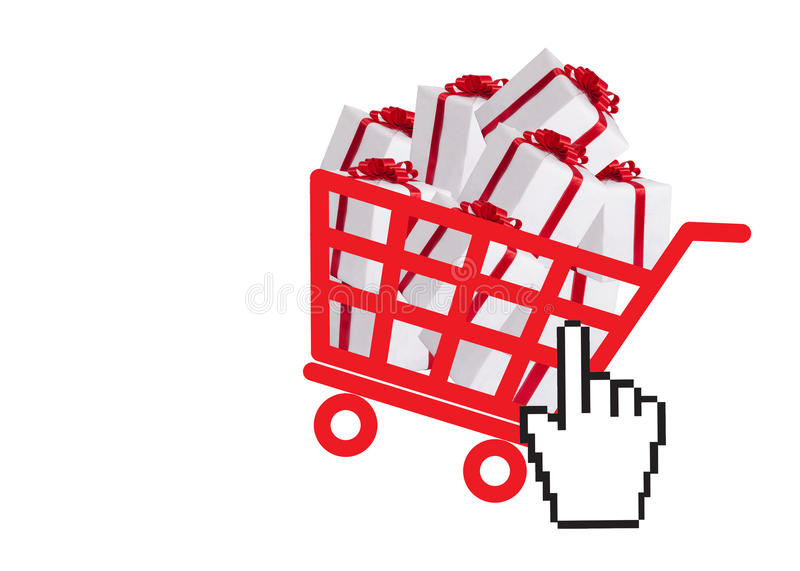Shopping basket with gift boxes. And hand cursor as online shopping concept royalty free illustration