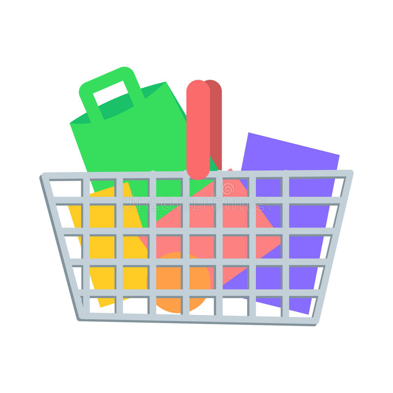Shopping Basket with Goods Flat Vector Icon. Shopping Basket full of paper bags and boxes flat vector illustration. Make purchases on seasonal sale in stock illustration