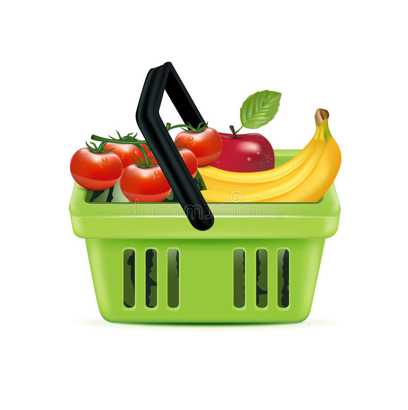 Shopping basket and groceries isolated royalty free stock images