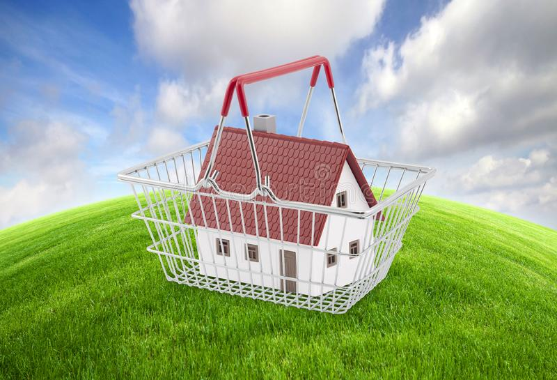 Shopping basket with house miniature on green grass royalty free stock photos
