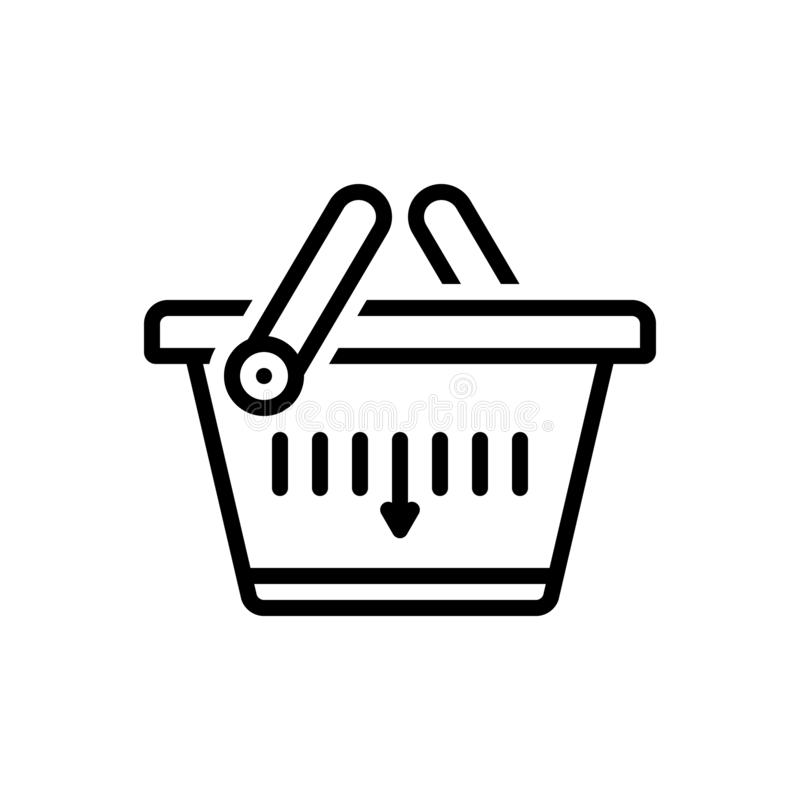 Black line icon for Shopping Basket, merchandise and buying. Black line icon for Shopping Basket,commerce, grocery, trolly, purchase,  merchandise and buying stock illustration