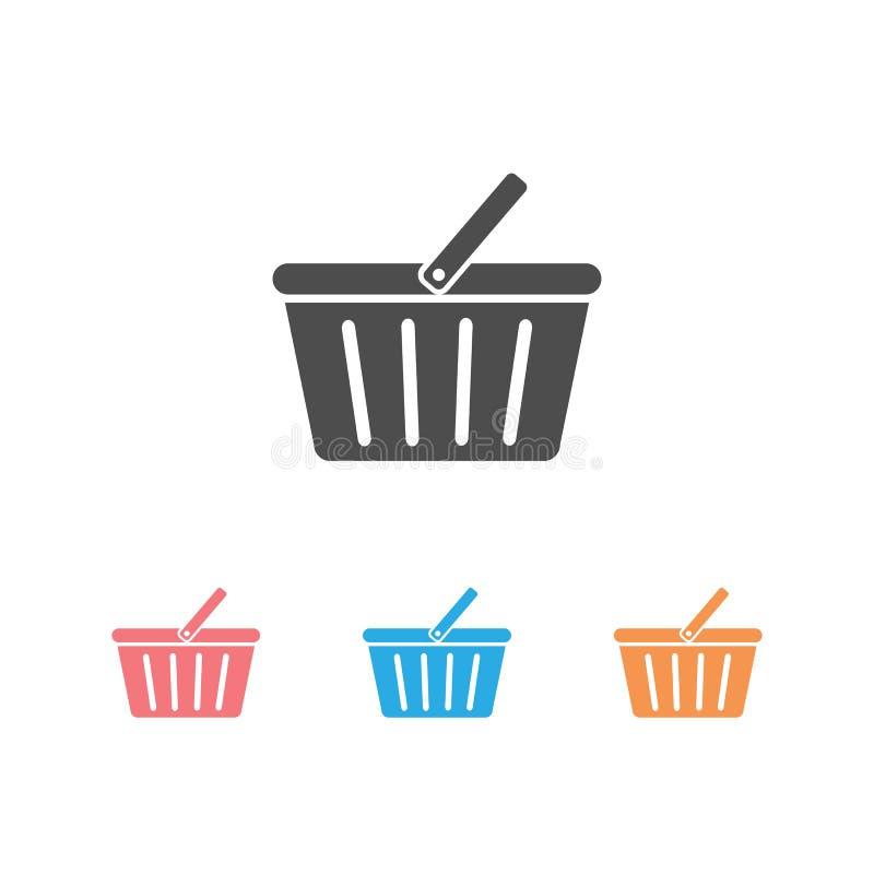 Shopping basket icon set vector flat sign symbols logo illustration isolated on white background black color.Concepts stock illustration