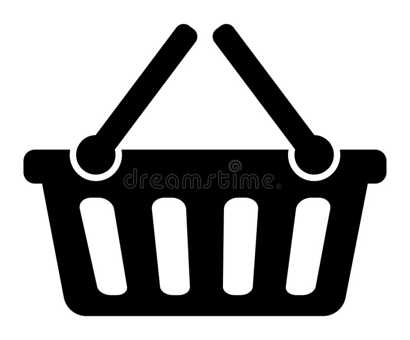 Shopping basket icon. Simple vector illustration of black and white shopping basket icon on white background royalty free illustration