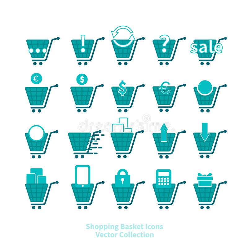Shopping basket icons vector set for web and print, online shop symbols. In blue and white stock illustration