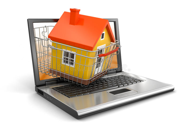Shopping Basket And Laptop With House (clipping Path Included) Stock Photos