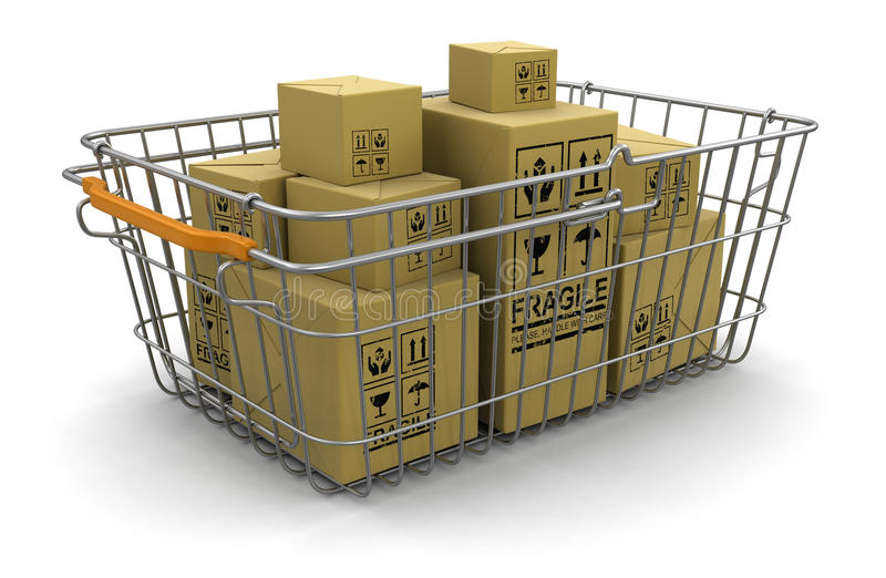 Download Shopping Basket And Packages (clipping Path Included) Stock Illustration - Illustration: 33720716