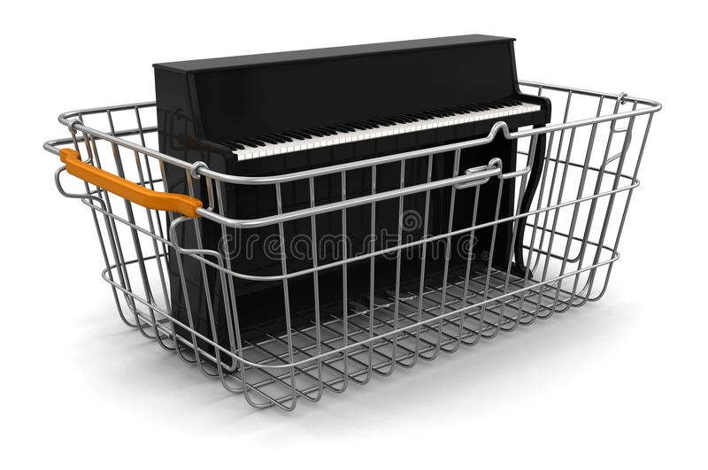 Download Shopping Basket And Piano (clipping Path Included) Stock Illustration - Image: 33720843