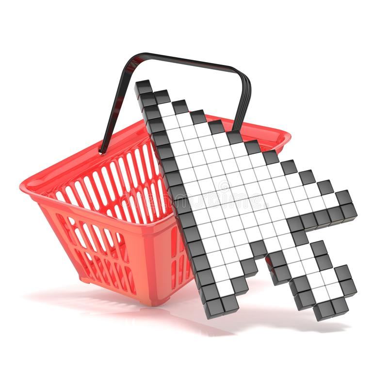 Shopping basket and pointing arrow cursor. Internet commerce concept. 3D stock illustration