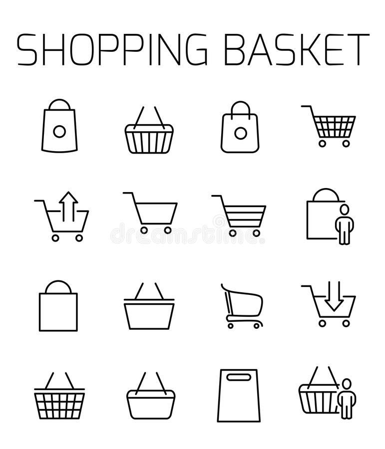 Shopping basket related vector icon set. royalty free illustration