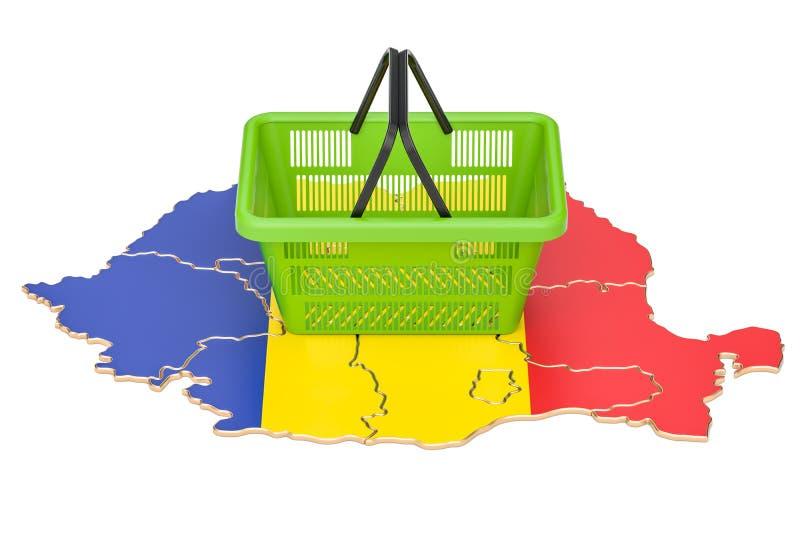 Shopping basket on Romania map, market basket or purchasing powe stock illustration