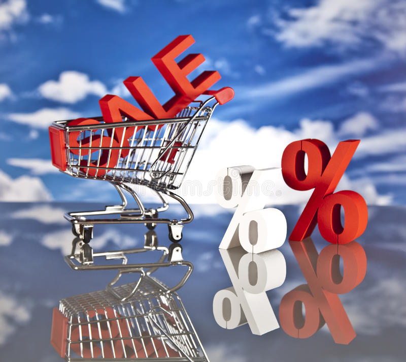 Shopping basket and sales stock images