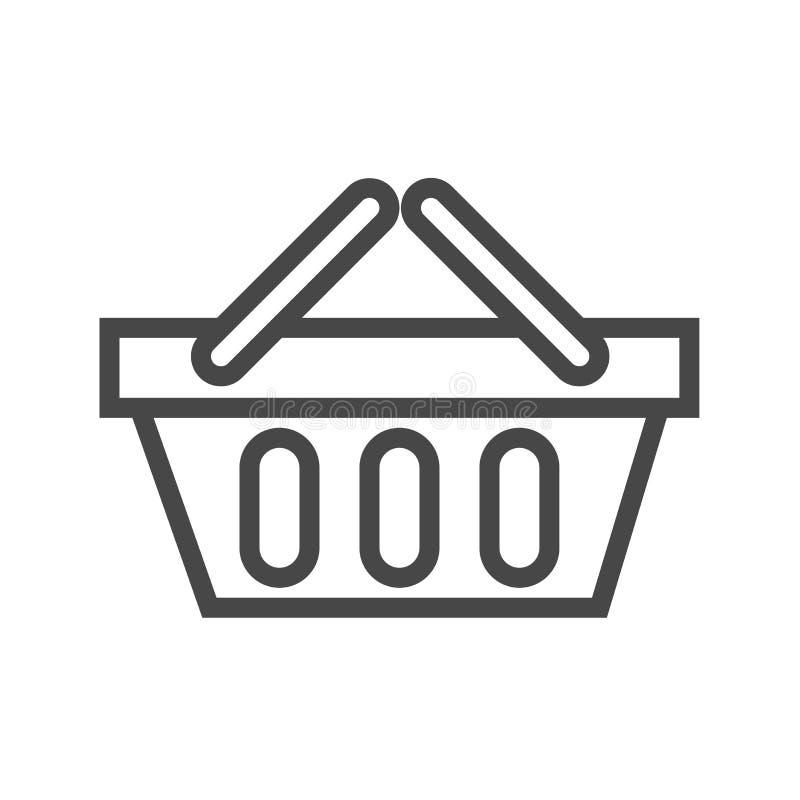 Shopping Basket Thin Line Vector Icon stock illustration