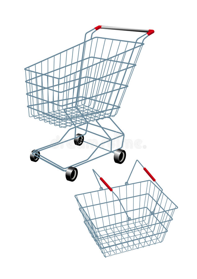 Shopping Basket And Trolley Royalty Free Stock Photo