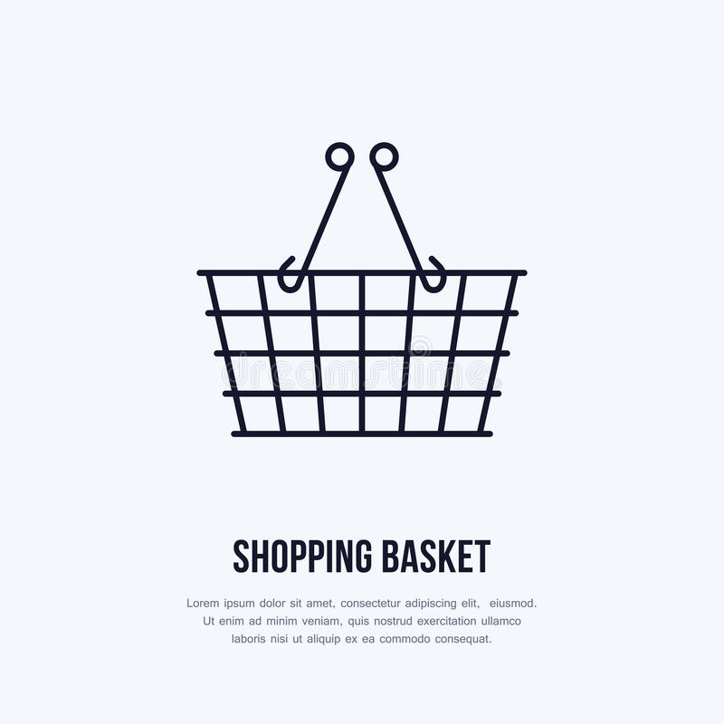 Shopping basket vector flat line icons. Retail store supplies, trade shop, supermarket equipment sign. Commercial royalty free illustration