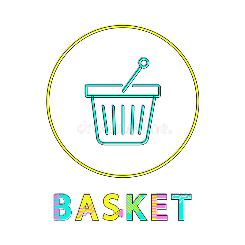 Shopping basket vector icon, linear outline style vector illustration