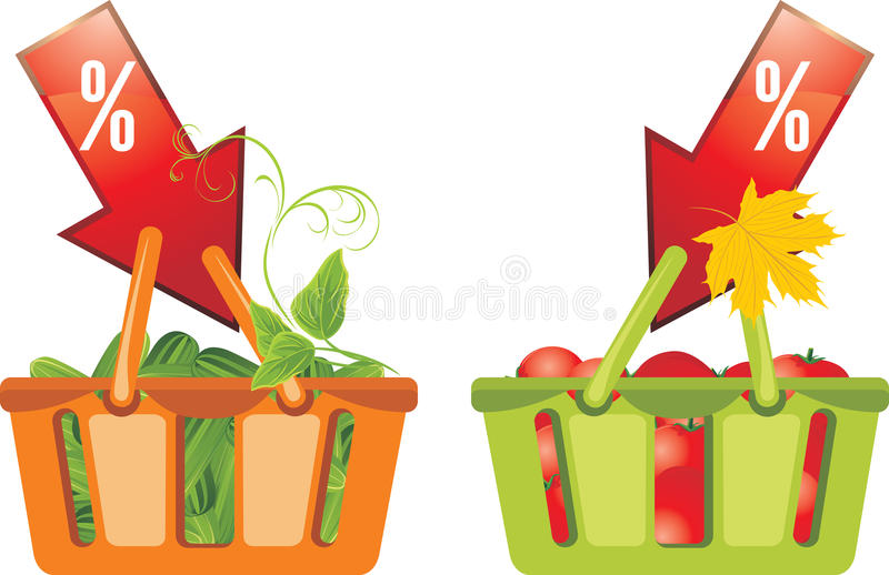 Download Shopping Baskets With Cucumbers And Tomatoes Stock Vector - Image: 26274271