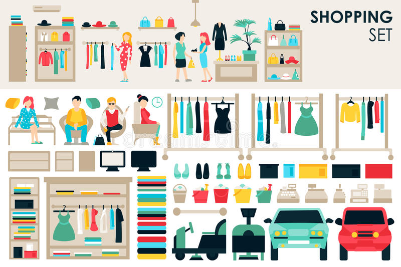 Shopping Big Collection in flat design background concept. Infographic Elements Set With Mall Staff Clothes And. Furniture People Interior Objects stock illustration