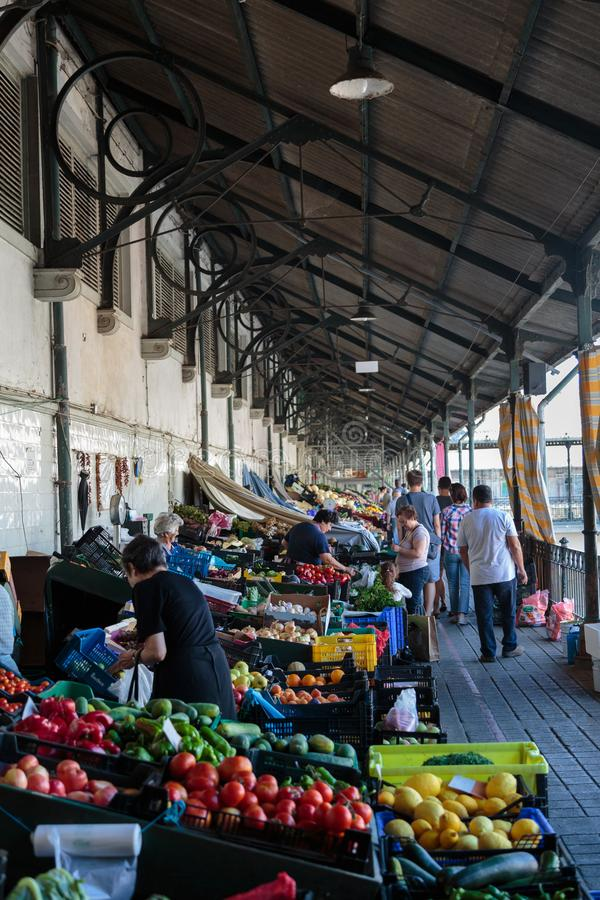 Shopping at Bolhao Market in Porto, Portugal stock image
