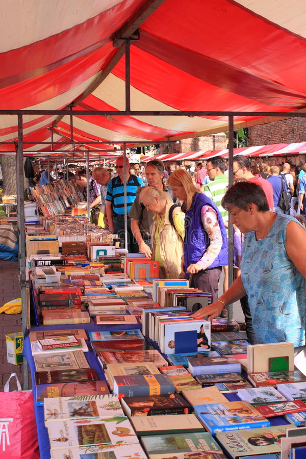 Shopping for books at market royalty free stock images