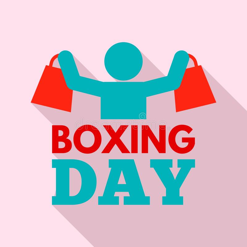 Shopping boxing day logo set, flat style stock illustration