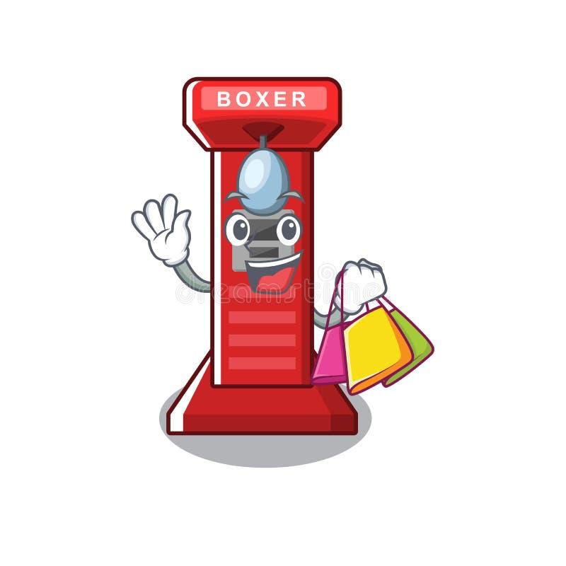 Shopping boxing game machine on the cartoon. Vector illustration stock illustration