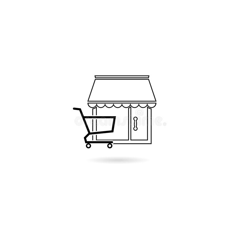 Shopping building or market store with shopping cart icon isolated on white background royalty free illustration