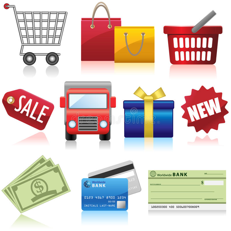 Shopping and Business Icons. Set of shopping, e-commerce and business icons royalty free illustration