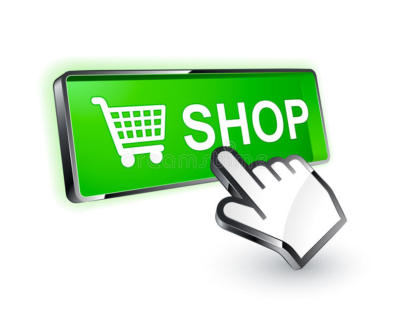 Shopping button icon. Isolated green e-commerce shopping button with hand