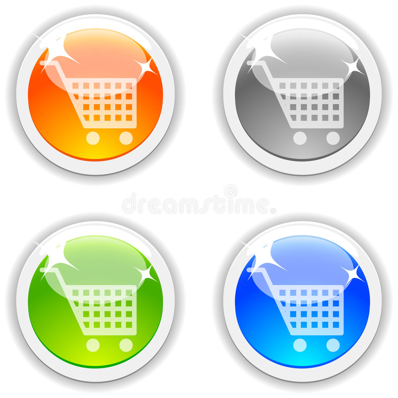 Download Shopping buttons. stock vector. Image of glossy, circle - 9166432