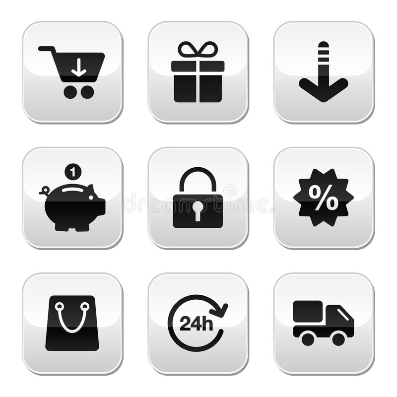 Shopping Buttons For Website / Online Store Royalty Free Stock Images