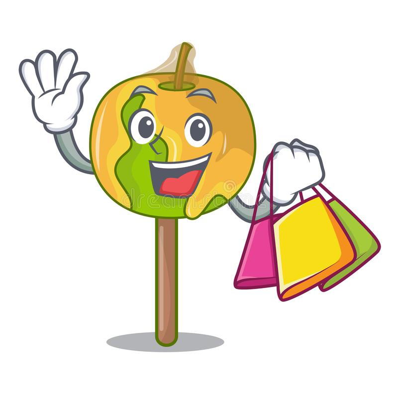 Shopping candy apple character cartoon royalty free illustration