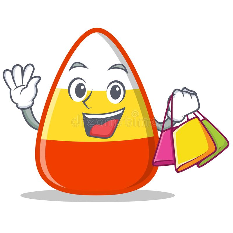 Shopping candy corn character cartoon vector illustration