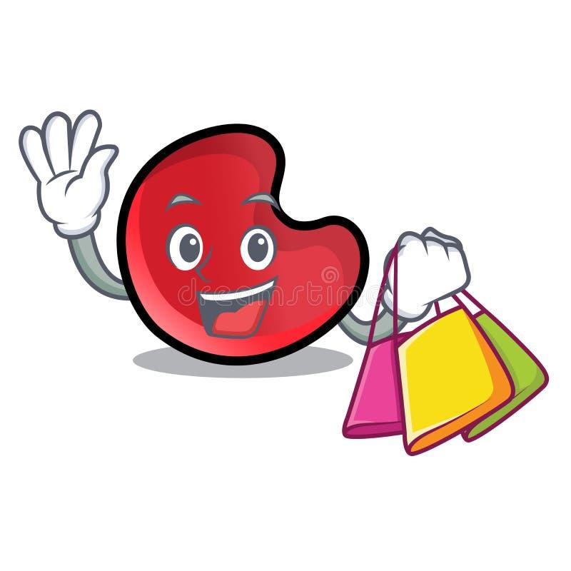 Shopping candy moon character cartoon vector illustration