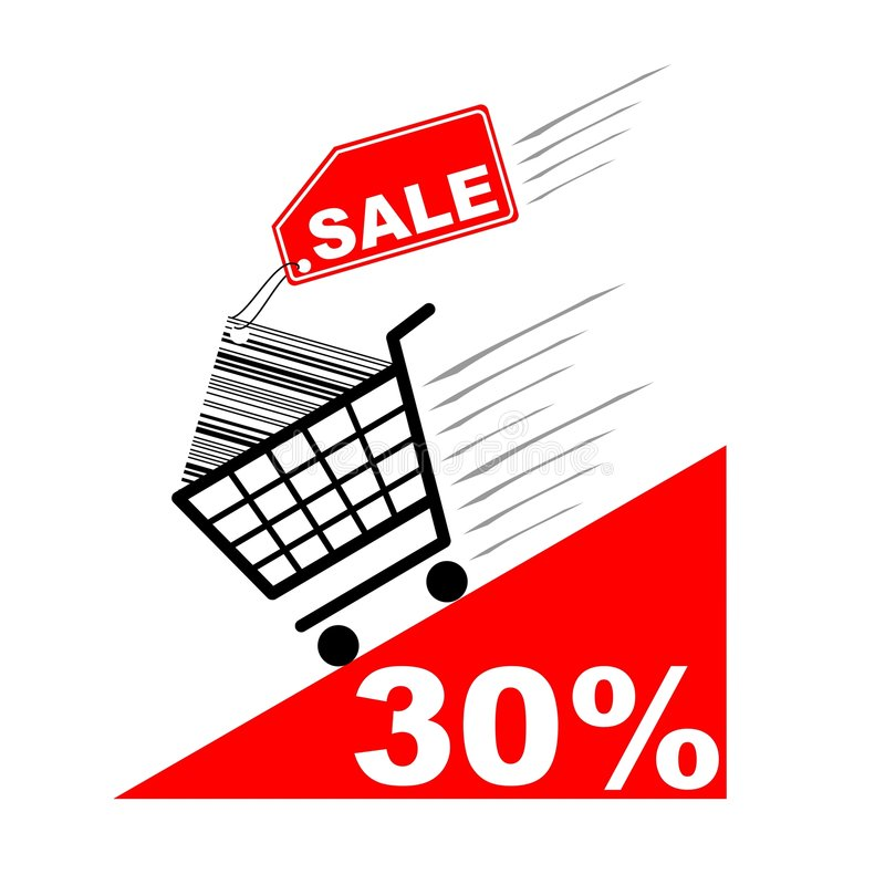 Shopping card with sale label and pecentual sale royalty free illustration