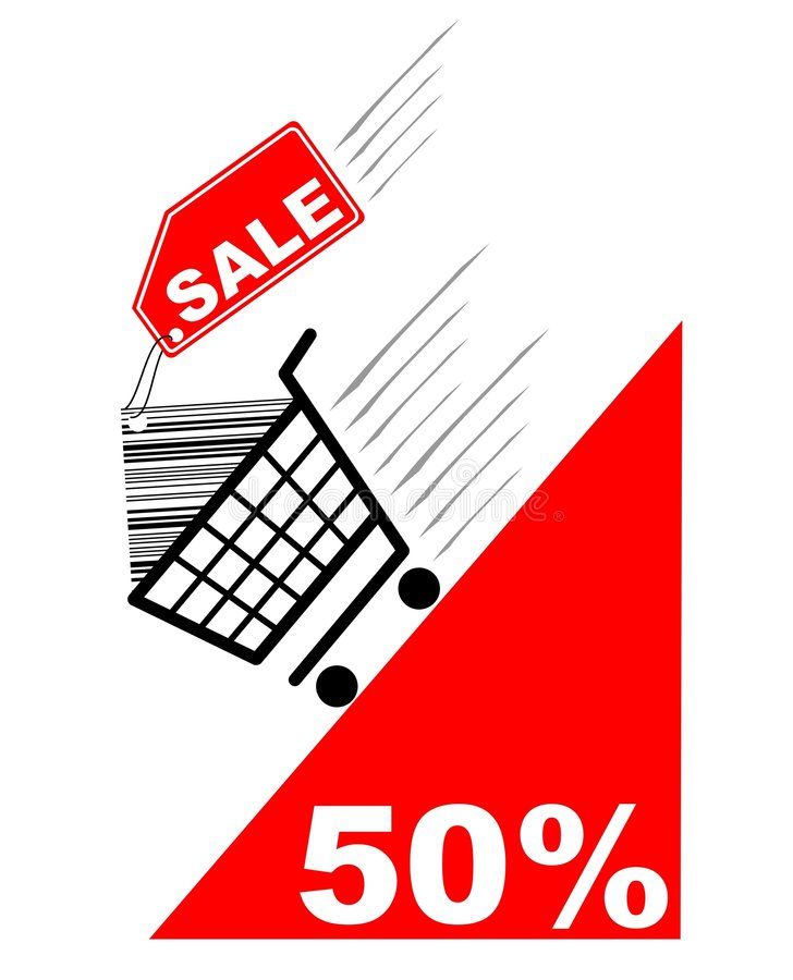 Shopping card with sale label and pecentual sale