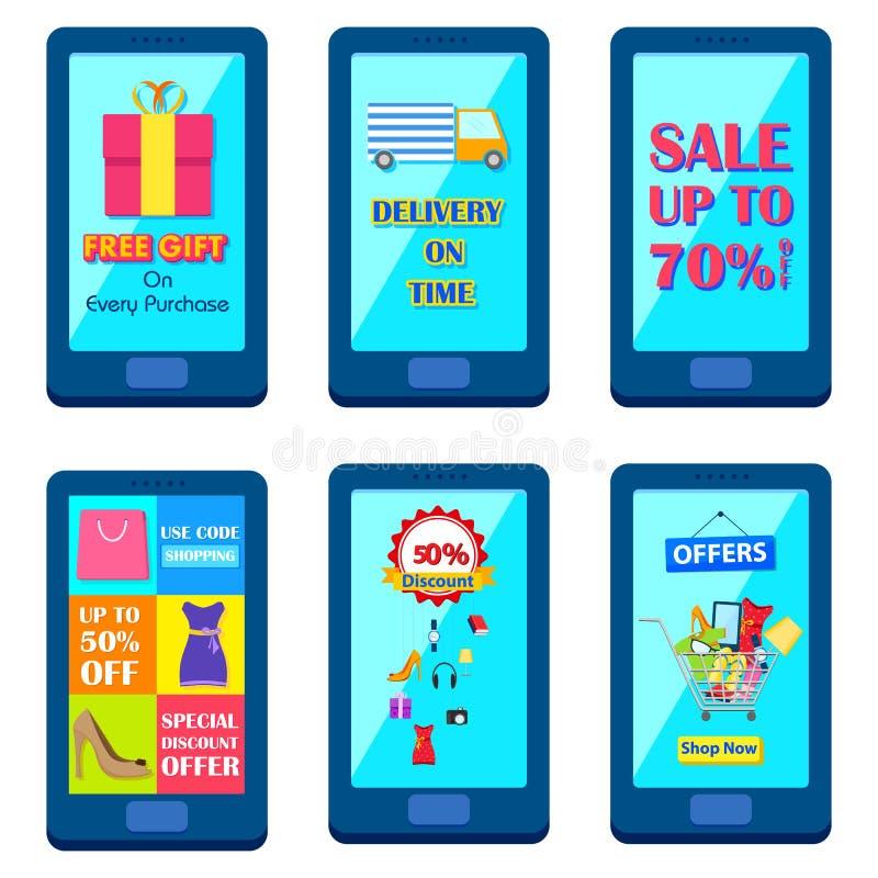 Shopping Carnival Sale Poster for mobile application vector illustration