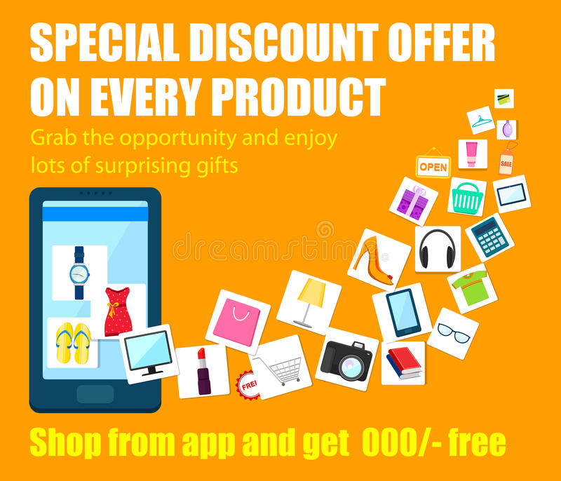 Shopping Carnival Sale Poster for mobile application royalty free illustration