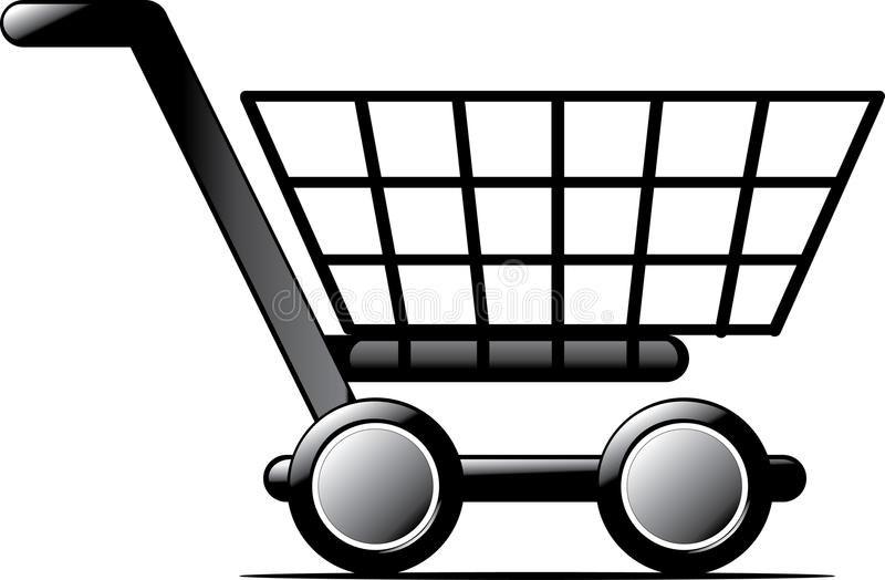 Shopping cart. 3d illustration isolated on white background stock illustration