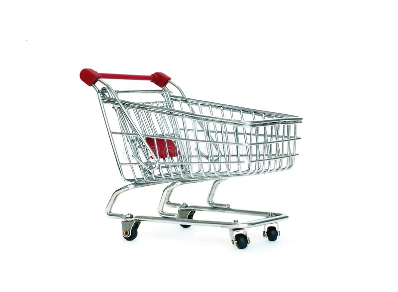Shopping cart. Iamge of red shopping cart over white stock images