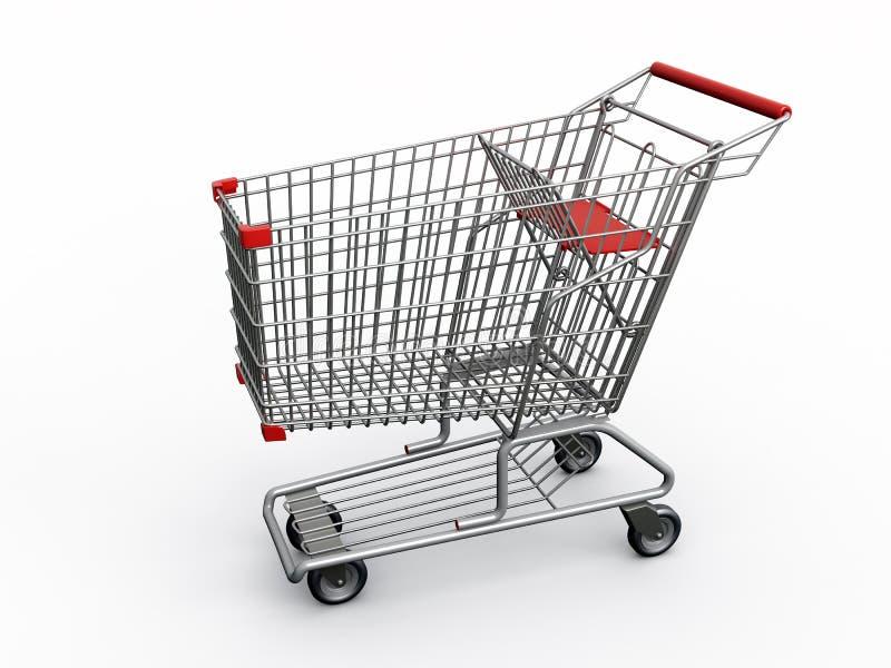 Shopping cart. Photorealistic 3D shopping cart isolated on white background royalty free illustration