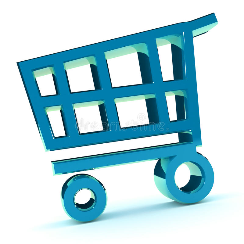 Download Shopping Cart stock illustration. Image of rendered, blue - 18601680