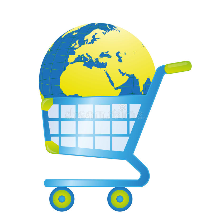 Shopping cart. Blue and green shopping cart with earth isolated over white background royalty free illustration
